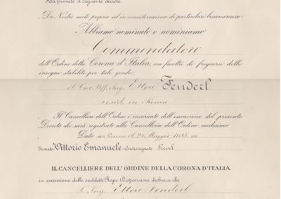 Attestato Gran Maestro dell'Ordine della Corona d'Italia