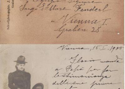 Cartolina della moglie e del figlio Flavio, 1900