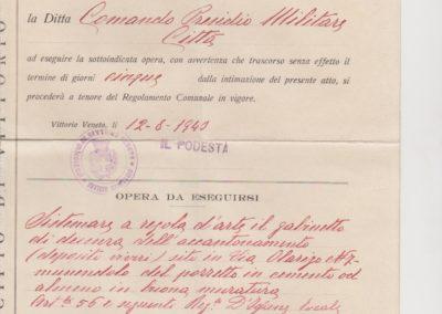 Diffida Comando Presidio Militare Città 1940